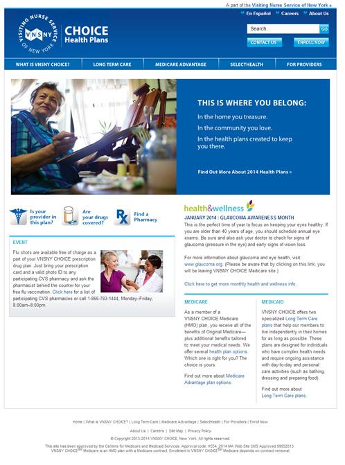 VNSNY Choice - Website Screenshot