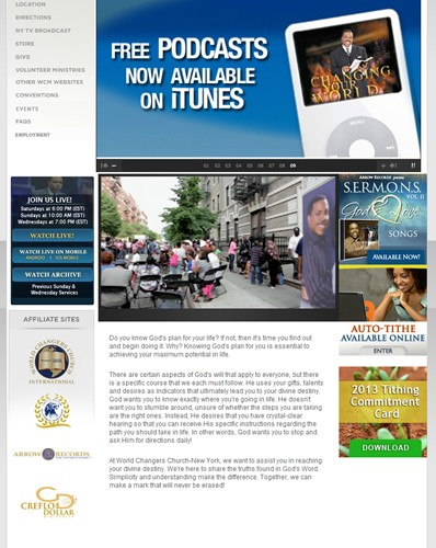 World Changers Church - New York Website Screenshot